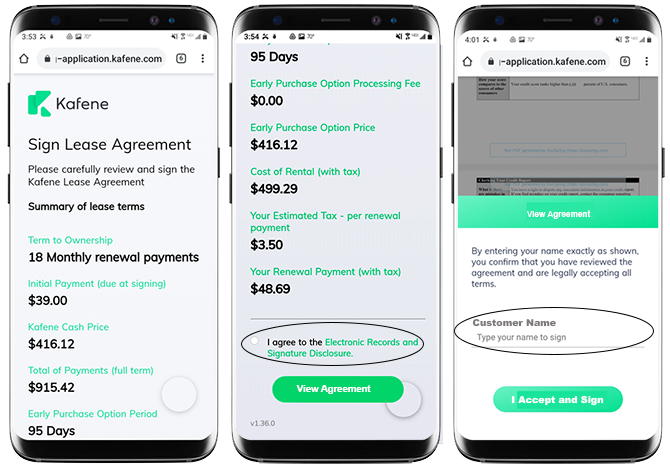 Mobile Phone Screen Shots Sign Lease Agreement